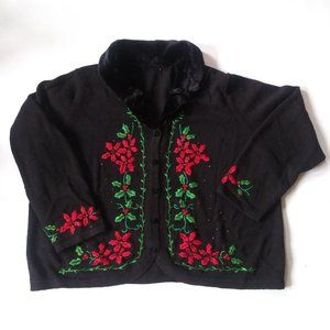 Black and red Christmas cardigan